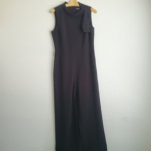 NWT DKNY Black Tie Neck Wide Leg Jumpsuit D31
